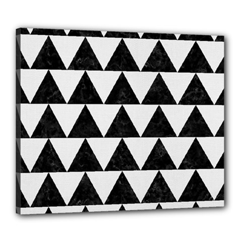 TRIANGLE2 BLACK MARBLE & WHITE LINEN Canvas 24  x 20