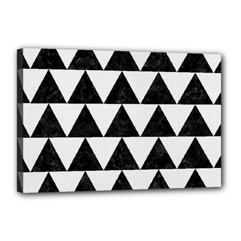 TRIANGLE2 BLACK MARBLE & WHITE LINEN Canvas 18  x 12