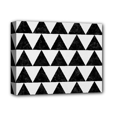 TRIANGLE2 BLACK MARBLE & WHITE LINEN Deluxe Canvas 14  x 11