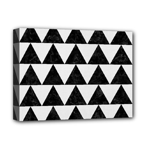 Triangle2 Black Marble & White Linen Deluxe Canvas 16  X 12   by trendistuff