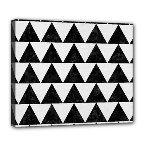 TRIANGLE2 BLACK MARBLE & WHITE LINEN Deluxe Canvas 24  x 20