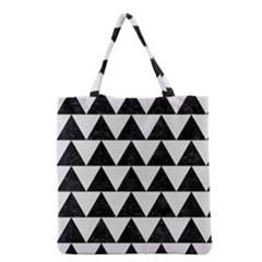TRIANGLE2 BLACK MARBLE & WHITE LINEN Grocery Tote Bag