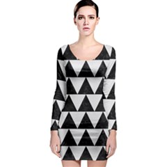 TRIANGLE2 BLACK MARBLE & WHITE LINEN Long Sleeve Bodycon Dress