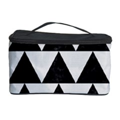 TRIANGLE2 BLACK MARBLE & WHITE LINEN Cosmetic Storage Case