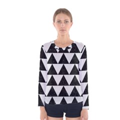 TRIANGLE2 BLACK MARBLE & WHITE LINEN Women s Long Sleeve Tee