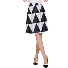 TRIANGLE2 BLACK MARBLE & WHITE LINEN A-Line Skirt