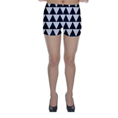 TRIANGLE2 BLACK MARBLE & WHITE LINEN Skinny Shorts