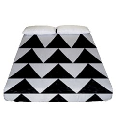 Triangle2 Black Marble & White Linen Fitted Sheet (queen Size) by trendistuff