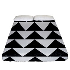 Triangle2 Black Marble & White Linen Fitted Sheet (king Size) by trendistuff