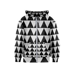 TRIANGLE2 BLACK MARBLE & WHITE LINEN Kids  Zipper Hoodie