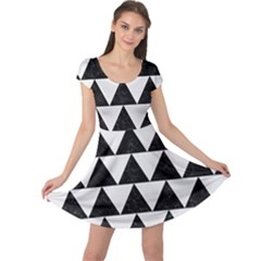 TRIANGLE2 BLACK MARBLE & WHITE LINEN Cap Sleeve Dress