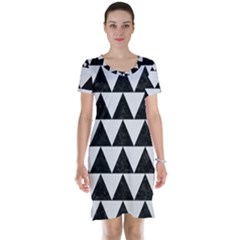 TRIANGLE2 BLACK MARBLE & WHITE LINEN Short Sleeve Nightdress