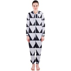 TRIANGLE2 BLACK MARBLE & WHITE LINEN Hooded Jumpsuit (Ladies)