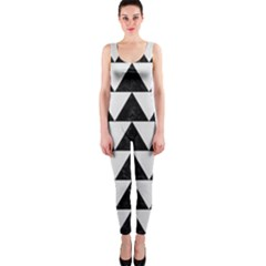 TRIANGLE2 BLACK MARBLE & WHITE LINEN OnePiece Catsuit