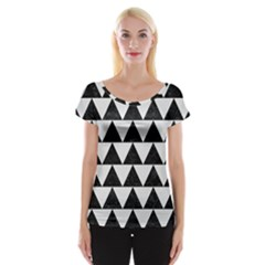 TRIANGLE2 BLACK MARBLE & WHITE LINEN Cap Sleeve Tops