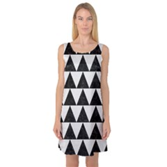 TRIANGLE2 BLACK MARBLE & WHITE LINEN Sleeveless Satin Nightdress