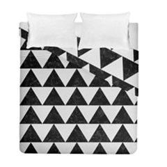 TRIANGLE2 BLACK MARBLE & WHITE LINEN Duvet Cover Double Side (Full/ Double Size)
