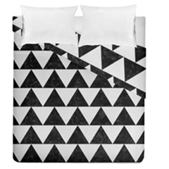 Triangle2 Black Marble & White Linen Duvet Cover Double Side (queen Size)