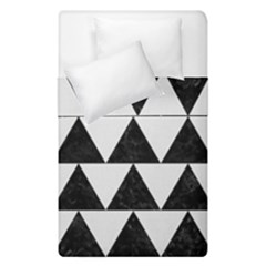 TRIANGLE2 BLACK MARBLE & WHITE LINEN Duvet Cover Double Side (Single Size)