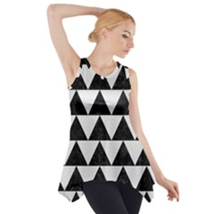 TRIANGLE2 BLACK MARBLE & WHITE LINEN Side Drop Tank Tunic