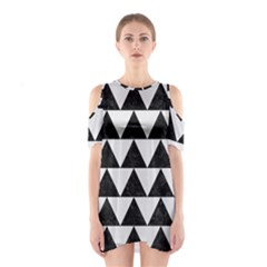 TRIANGLE2 BLACK MARBLE & WHITE LINEN Shoulder Cutout One Piece