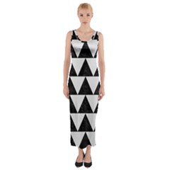 TRIANGLE2 BLACK MARBLE & WHITE LINEN Fitted Maxi Dress