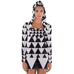 TRIANGLE2 BLACK MARBLE & WHITE LINEN Long Sleeve Hooded T-shirt