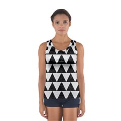 TRIANGLE2 BLACK MARBLE & WHITE LINEN Sport Tank Top