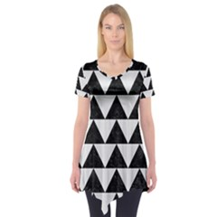 TRIANGLE2 BLACK MARBLE & WHITE LINEN Short Sleeve Tunic
