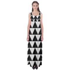 TRIANGLE2 BLACK MARBLE & WHITE LINEN Empire Waist Maxi Dress