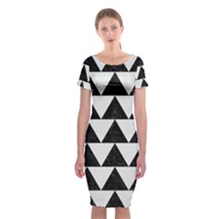 TRIANGLE2 BLACK MARBLE & WHITE LINEN Classic Short Sleeve Midi Dress