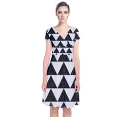 TRIANGLE2 BLACK MARBLE & WHITE LINEN Short Sleeve Front Wrap Dress