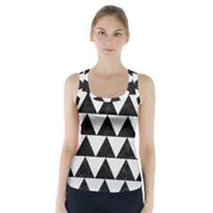 TRIANGLE2 BLACK MARBLE & WHITE LINEN Racer Back Sports Top