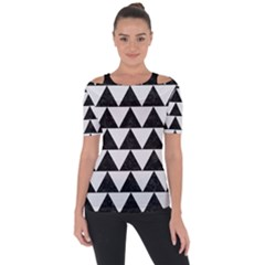 TRIANGLE2 BLACK MARBLE & WHITE LINEN Short Sleeve Top