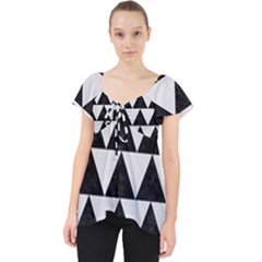 TRIANGLE2 BLACK MARBLE & WHITE LINEN Lace Front Dolly Top
