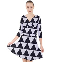 TRIANGLE2 BLACK MARBLE & WHITE LINEN Quarter Sleeve Front Wrap Dress