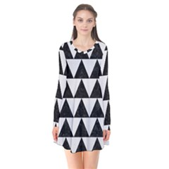 TRIANGLE2 BLACK MARBLE & WHITE LINEN Flare Dress