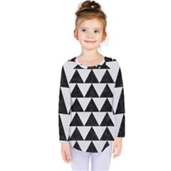 TRIANGLE2 BLACK MARBLE & WHITE LINEN Kids  Long Sleeve Tee