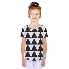 TRIANGLE2 BLACK MARBLE & WHITE LINEN Kids  One Piece Tee