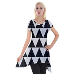TRIANGLE2 BLACK MARBLE & WHITE LINEN Short Sleeve Side Drop Tunic