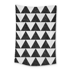Triangle2 Black Marble & White Linen Small Tapestry by trendistuff