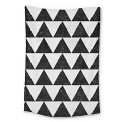 TRIANGLE2 BLACK MARBLE & WHITE LINEN Large Tapestry