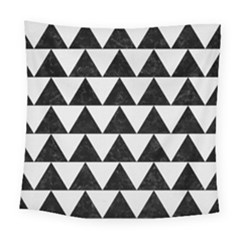 TRIANGLE2 BLACK MARBLE & WHITE LINEN Square Tapestry (Large)
