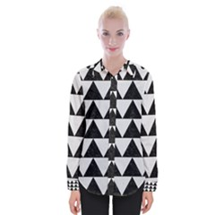 TRIANGLE2 BLACK MARBLE & WHITE LINEN Womens Long Sleeve Shirt