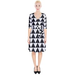 TRIANGLE2 BLACK MARBLE & WHITE LINEN Wrap Up Cocktail Dress