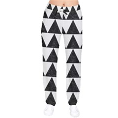TRIANGLE2 BLACK MARBLE & WHITE LINEN Drawstring Pants