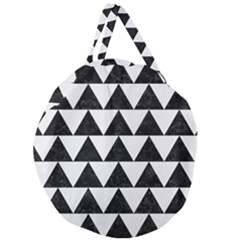 TRIANGLE2 BLACK MARBLE & WHITE LINEN Giant Round Zipper Tote