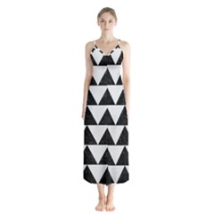 TRIANGLE2 BLACK MARBLE & WHITE LINEN Button Up Chiffon Maxi Dress