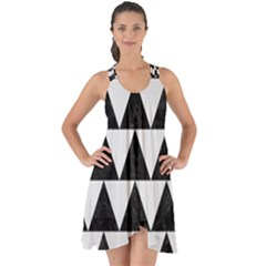 TRIANGLE2 BLACK MARBLE & WHITE LINEN Show Some Back Chiffon Dress