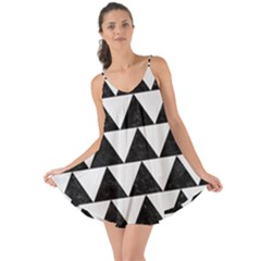 TRIANGLE2 BLACK MARBLE & WHITE LINEN Love the Sun Cover Up